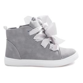 Sneakers alte grigie con fiocchi TL0148-6 grigio