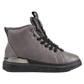 SHELOVET Stivali stringati con glitter grigio