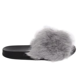 Pantofole grigie con pelliccia grigia CK107P Grigio