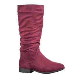 SHELOVET Stivali di camoscio sopra il ginocchio rosso