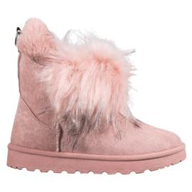 Bella Paris Stivali da neve con pelliccia rosa