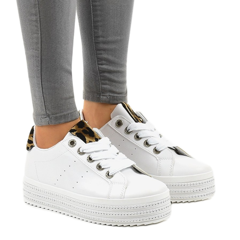 Sneakers leopardate bianche sulla piattaforma M-071 bianco