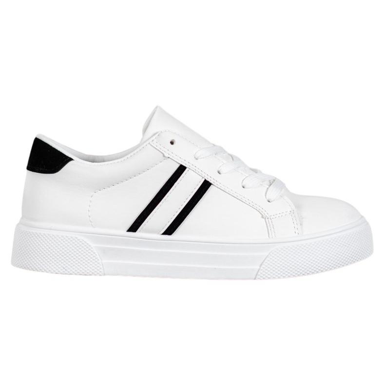 SHELOVET Scarpe sportive con pelle ecologica bianco