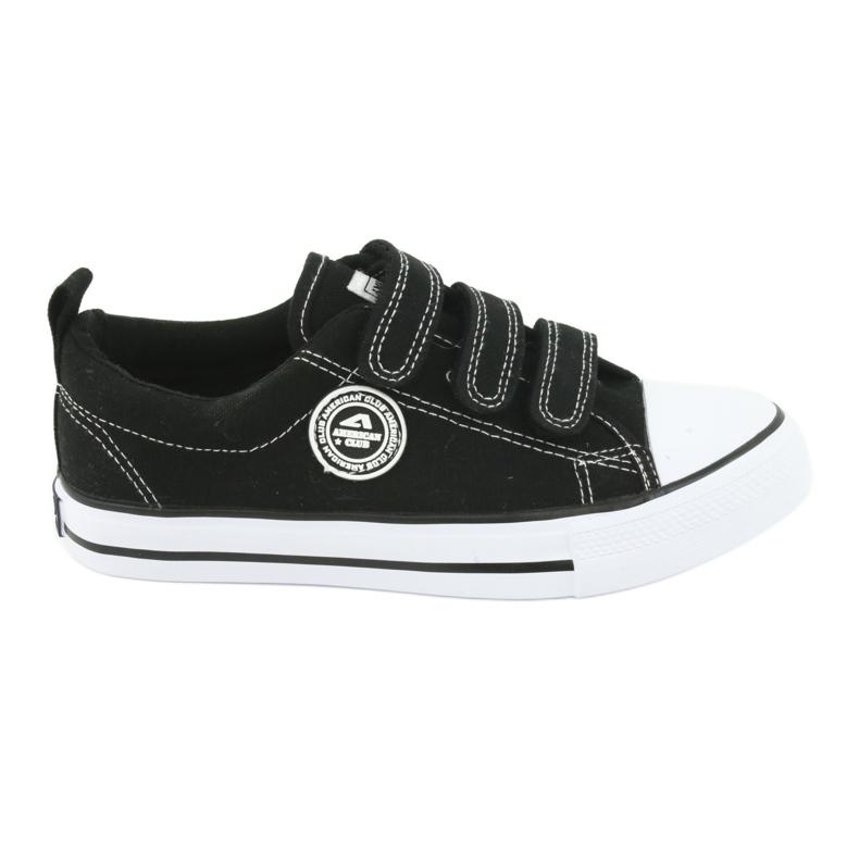 American Club Sneaker per bambini americani con velcro LH33 bianco nero