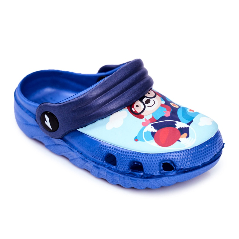Pantofole per bambini Foam Crocs Blue Teddy Bear Pilot SuperFly