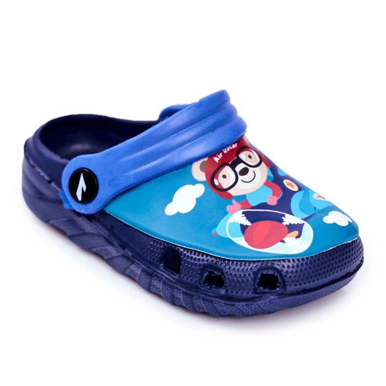 Pantofole per bambini Schiuma Crocs Navy Blue Teddy Bear Pilot SuperFly