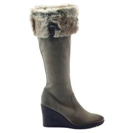 Caprice stivali stivali donna in pelle 25607 grigio