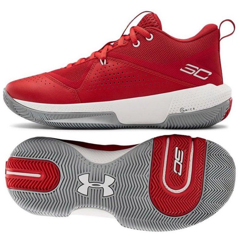 Scarpe da basket Under Armour Gs Sc 3Zero Iv Boys Jr 3023918-600 multicolore rosso