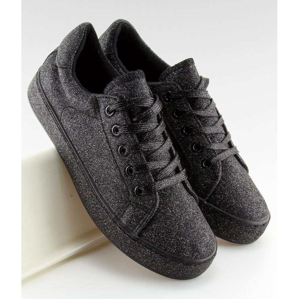 Nero-Sneakers-nere-iridescenti-BL142-nere miniatura 5