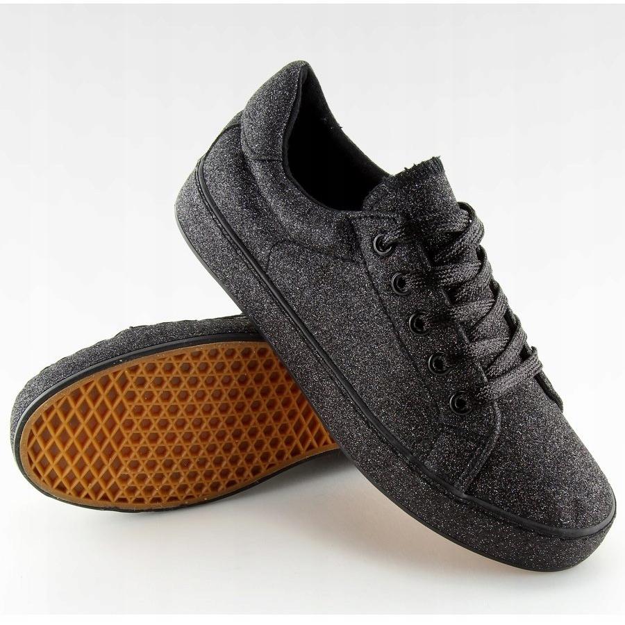 Nero-Sneakers-nere-iridescenti-BL142-nere miniatura 3