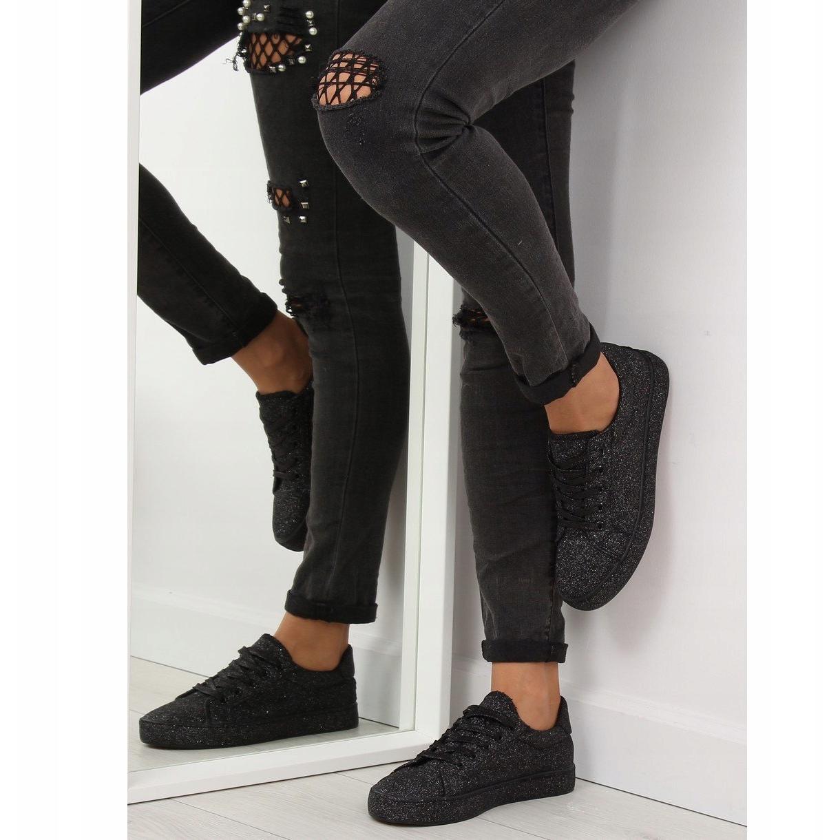 Nero-Sneakers-nere-iridescenti-BL142-nere miniatura 2