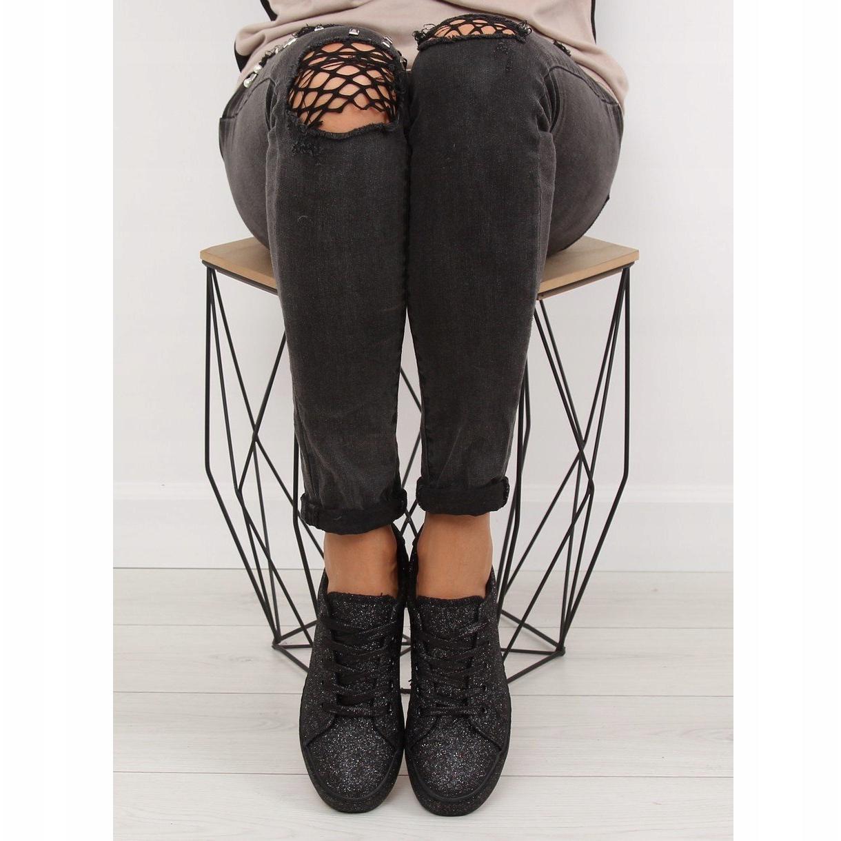 Nero-Sneakers-nere-iridescenti-BL142-nere miniatura 6