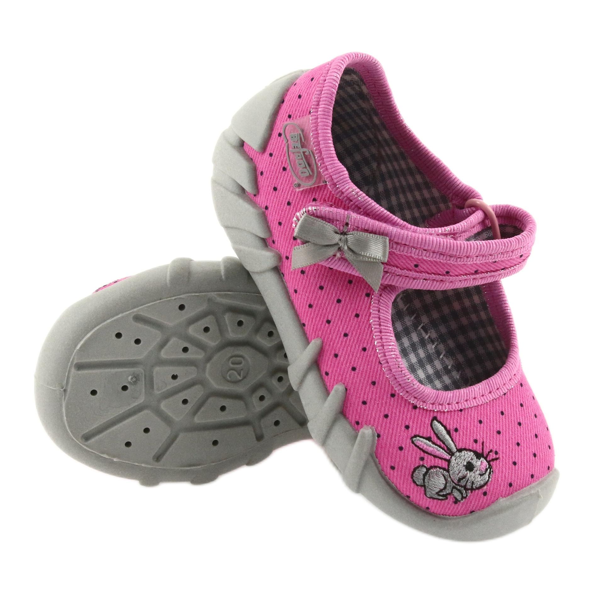 miniatura 4 - Pantofole da ballerina Befado per bambini 109P169 nero grigio rosa