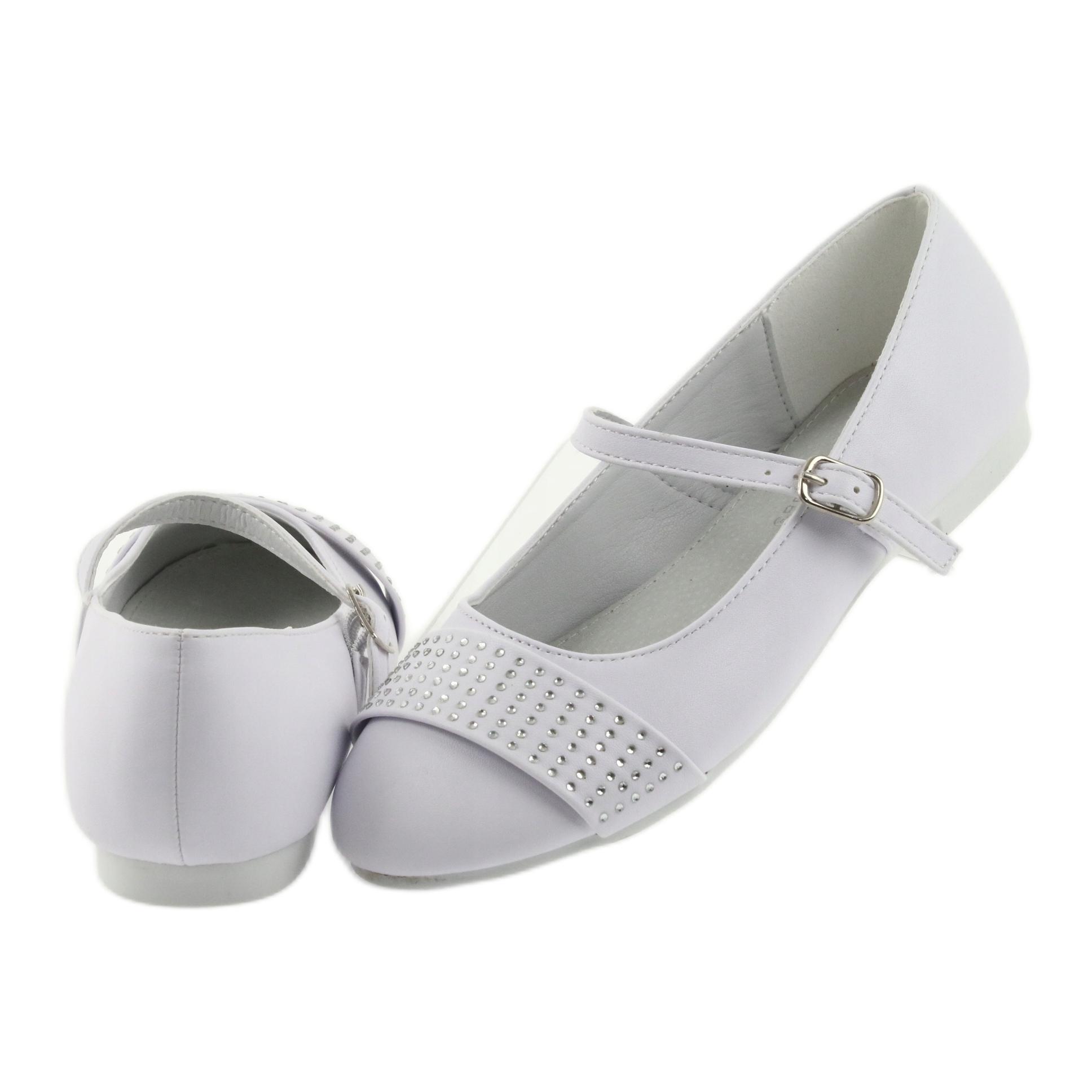 miniatura 6 - Pompe scarpe per bambini Comunione Ballerine strass American Club 11/19 bianco