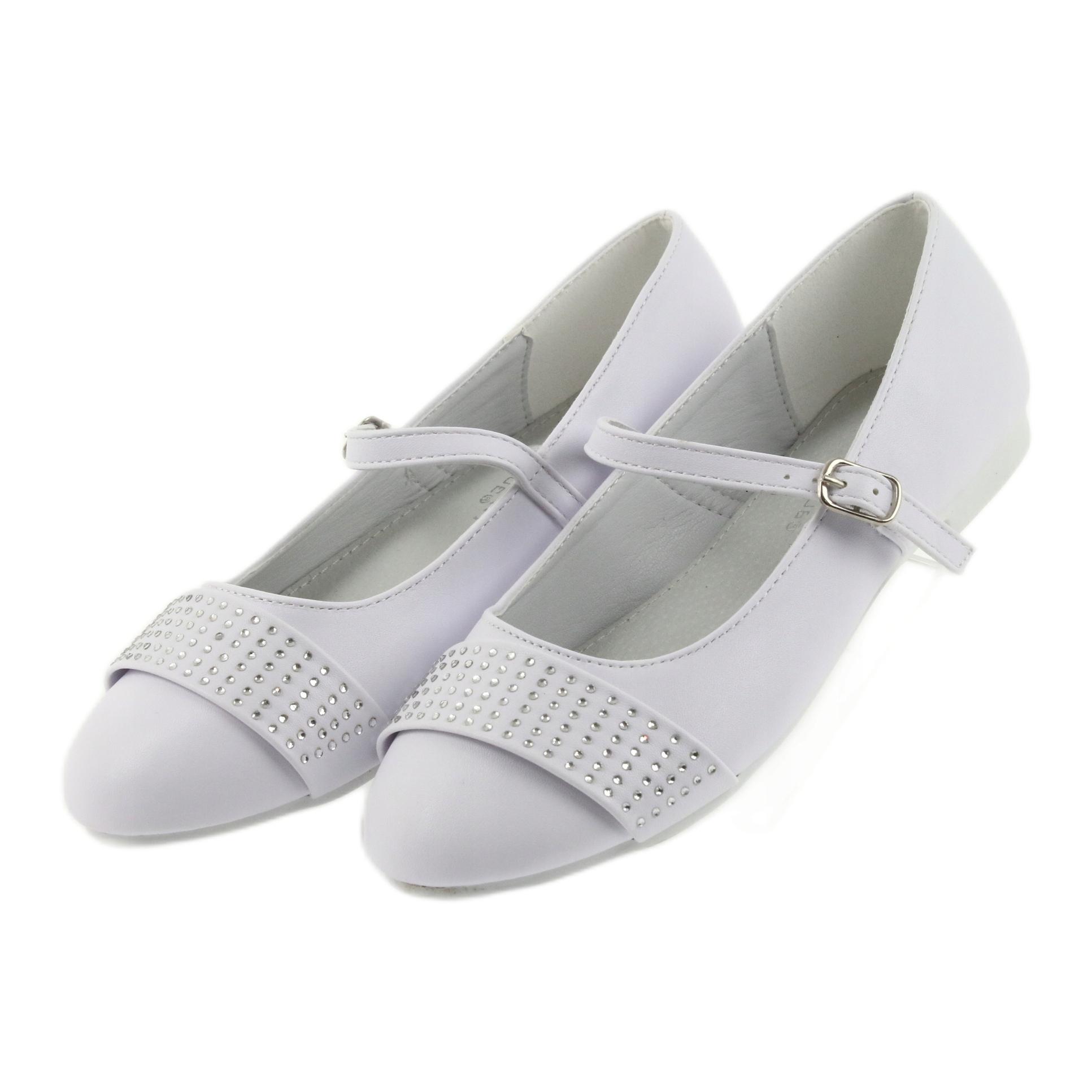miniatura 5 - Pompe scarpe per bambini Comunione Ballerine strass American Club 11/19 bianco