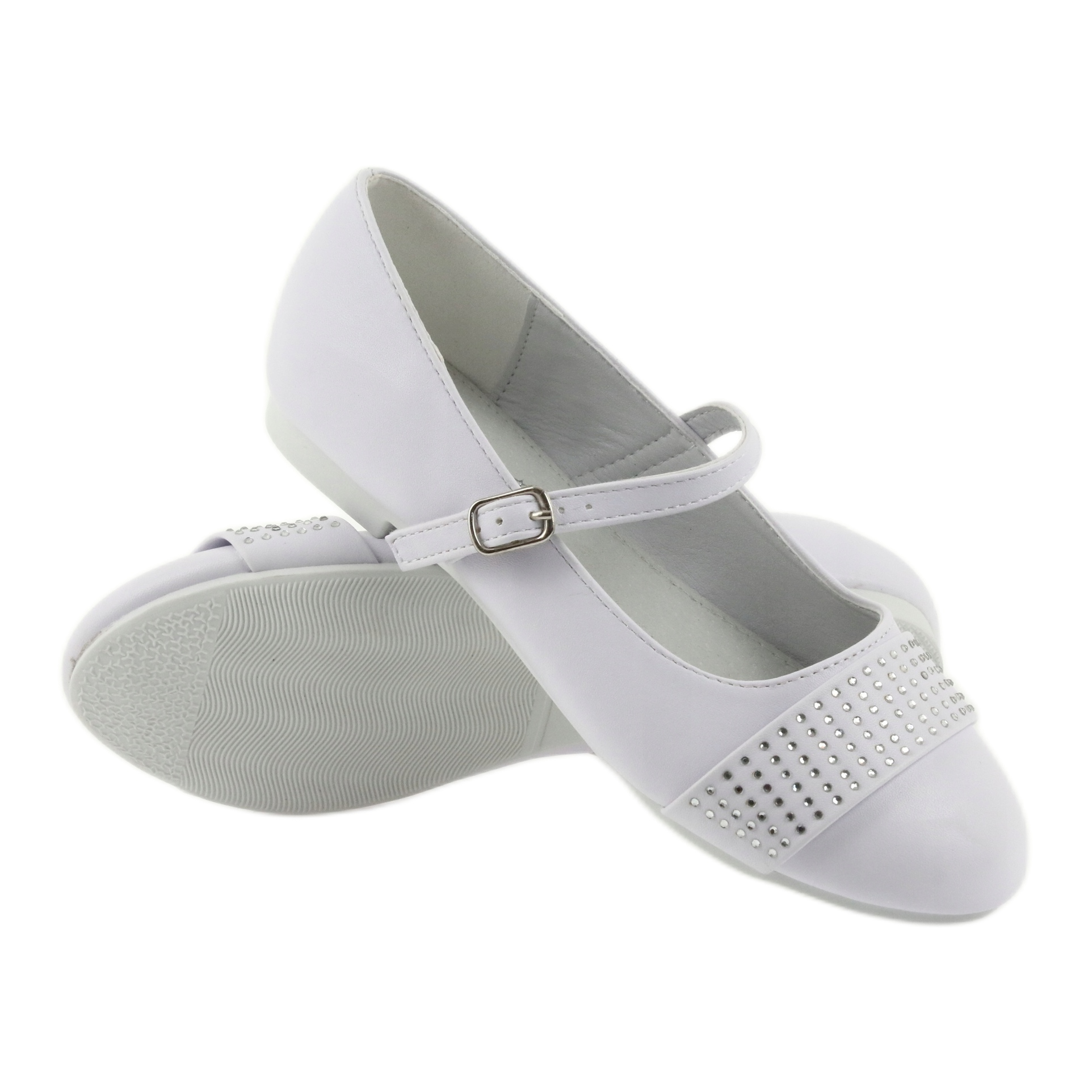 miniatura 4 - Pompe scarpe per bambini Comunione Ballerine strass American Club 11/19 bianco