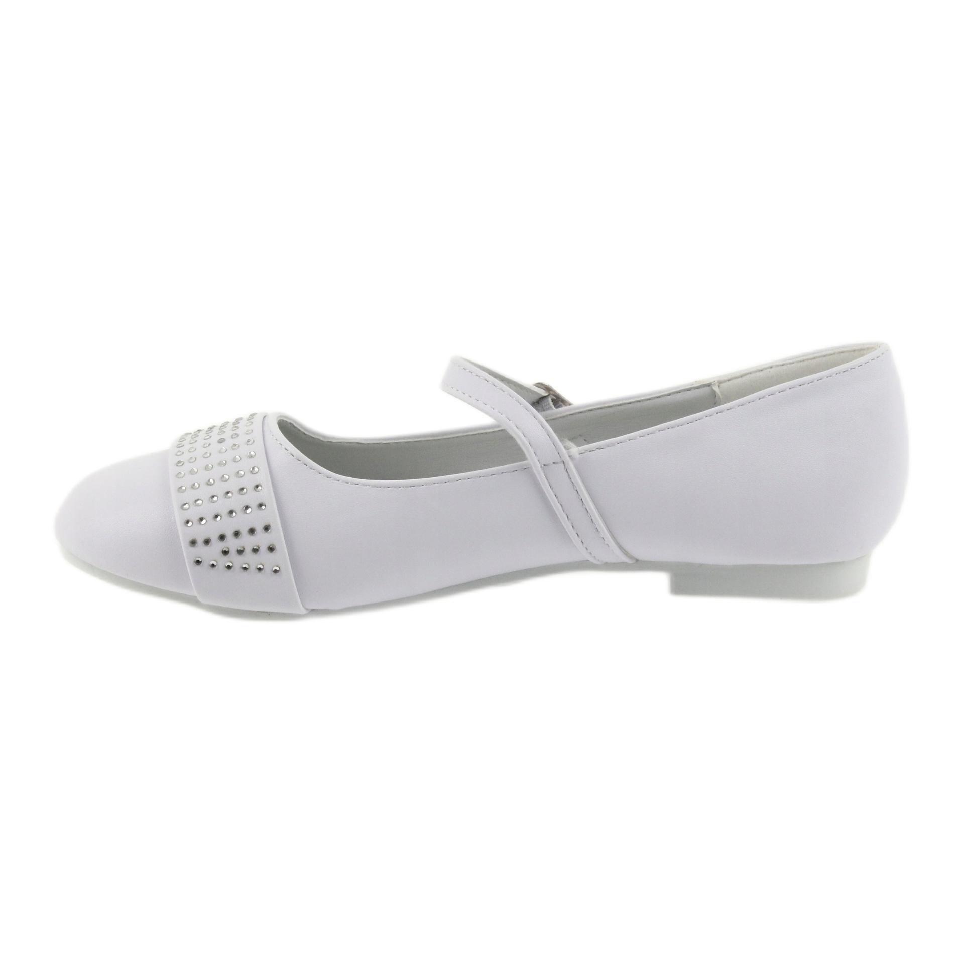 miniatura 3 - Pompe scarpe per bambini Comunione Ballerine strass American Club 11/19 bianco