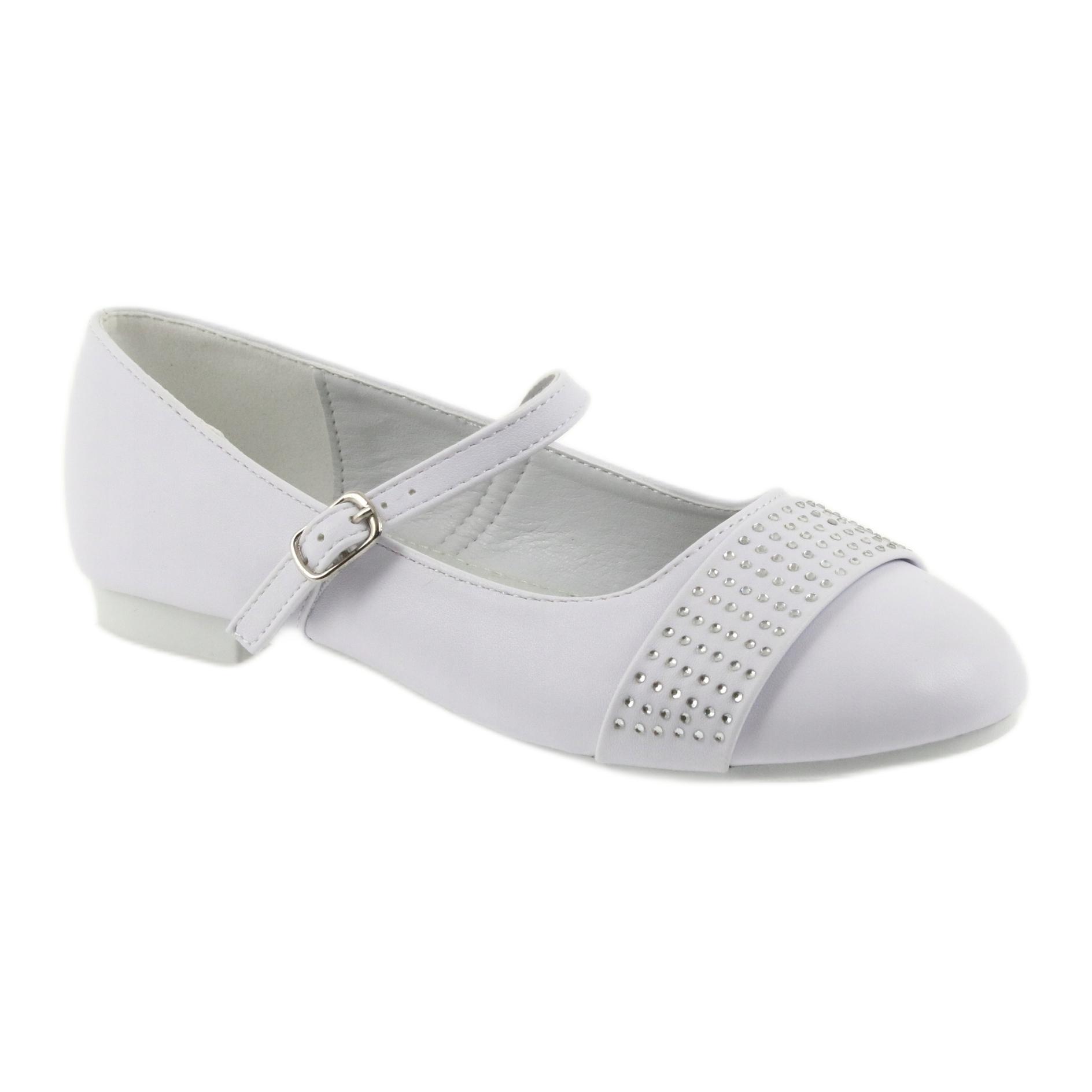 miniatura 2 - Pompe scarpe per bambini Comunione Ballerine strass American Club 11/19 bianco