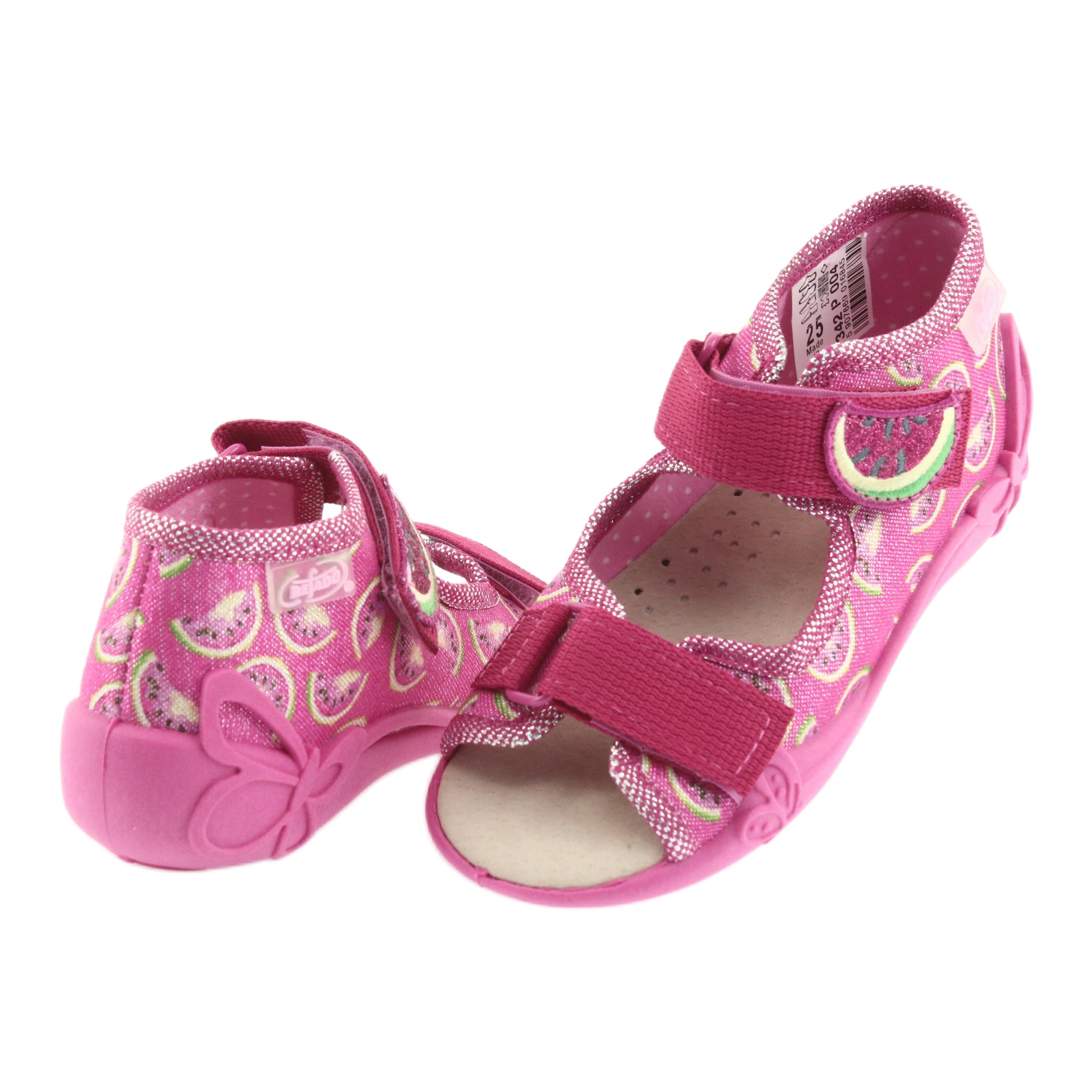 miniatura 5 - Sandali Befado scarpe da bambino 342P004 angurie grigio verde giallo rosa