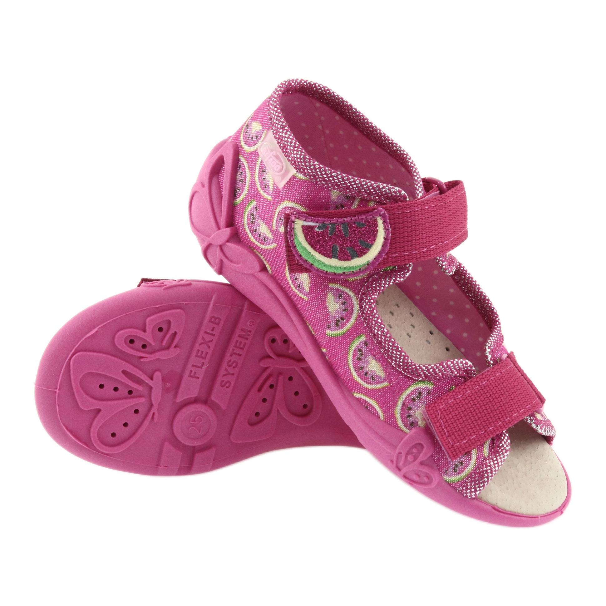 miniatura 4 - Sandali Befado scarpe da bambino 342P004 angurie grigio verde giallo rosa