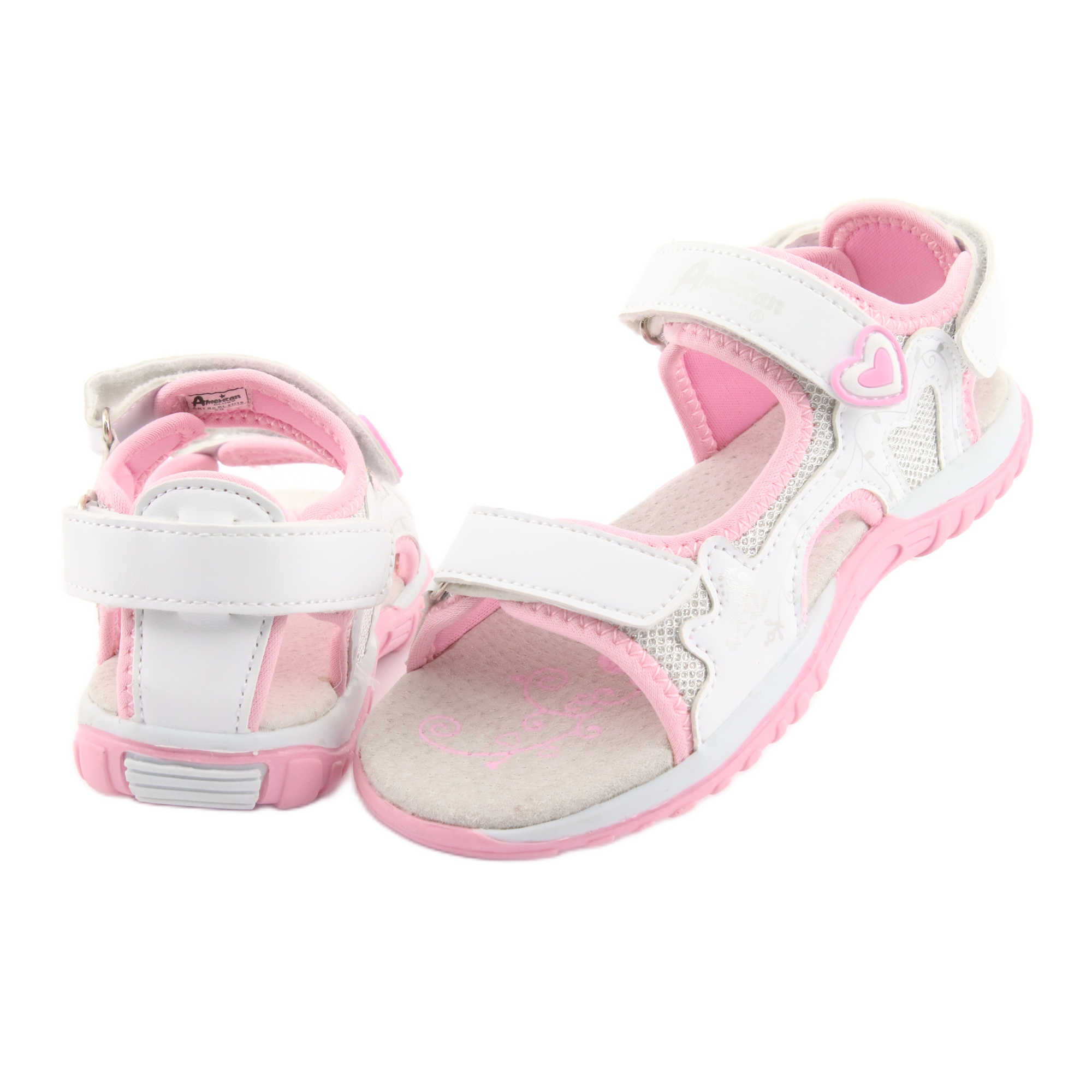 miniatura 5 - Sandali da donna di American Club bianco grigio rosa