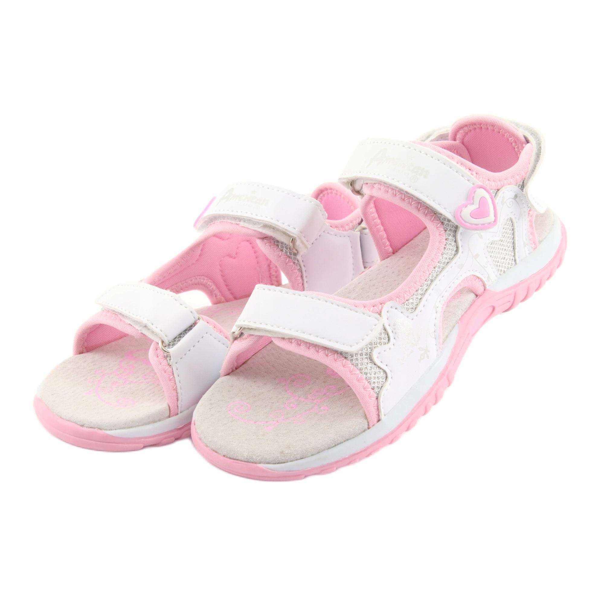 miniatura 4 - Sandali da donna di American Club bianco grigio rosa