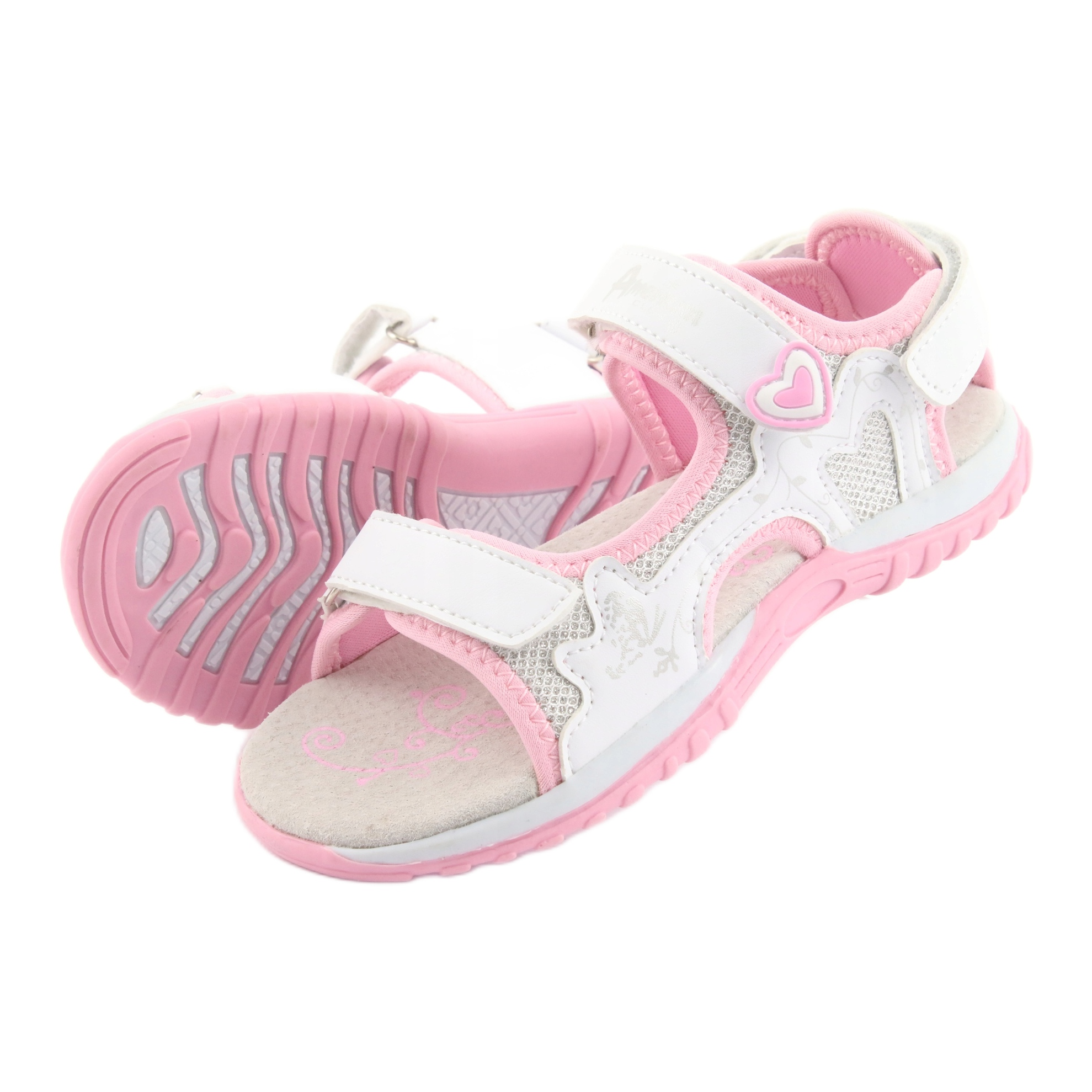 miniatura 6 - Sandali da donna di American Club bianco grigio rosa