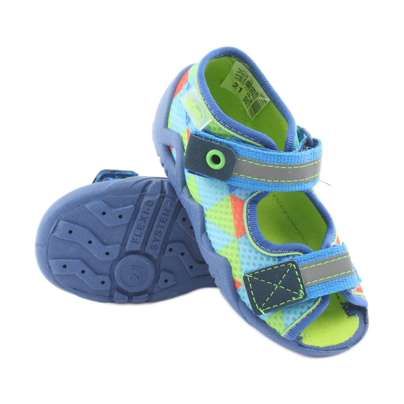 Pantofole blu verde Befado 250P059 immagine 3