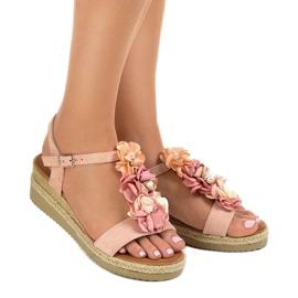 Sandali con zeppa rosa con fiori 218-168 1