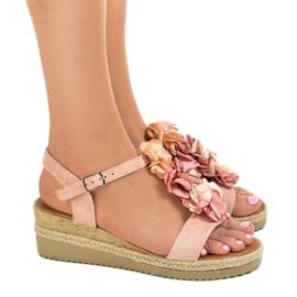 Sandali con zeppa rosa con fiori 218-168 3