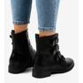Nero Stivali da donna neri con fibbie S120 immagine 2
