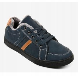 Sneaker da uomo blu scuro con pelliccia E756M-2 marina 1