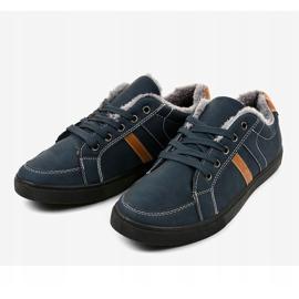 Sneaker da uomo blu scuro con pelliccia E756M-2 marina 2