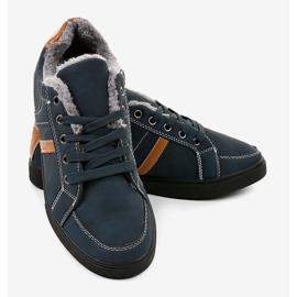 Sneaker da uomo blu scuro con pelliccia E756M-2 marina 3