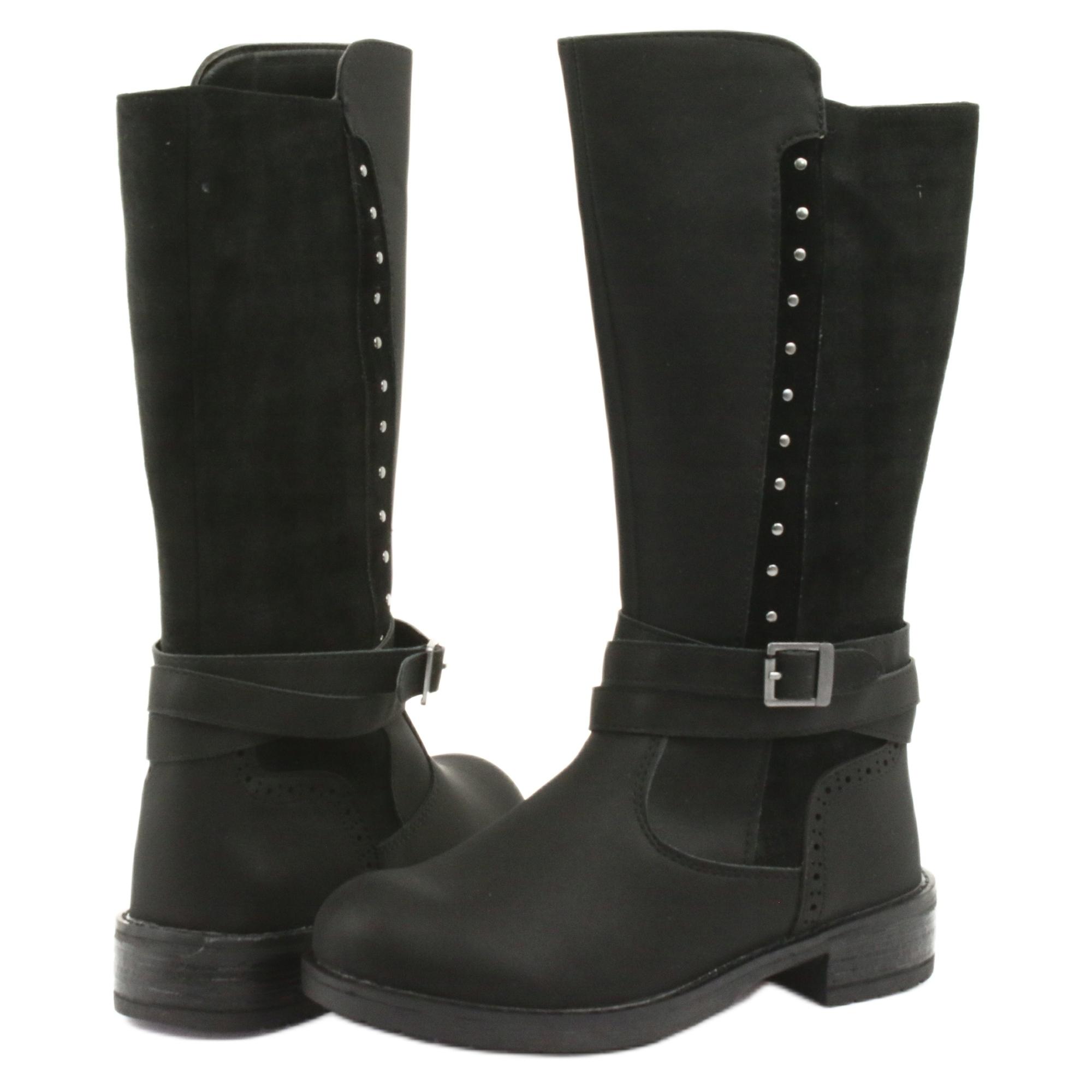 miniatura 5 - Stivali lunghi American Club GC31 con getti nero grigio