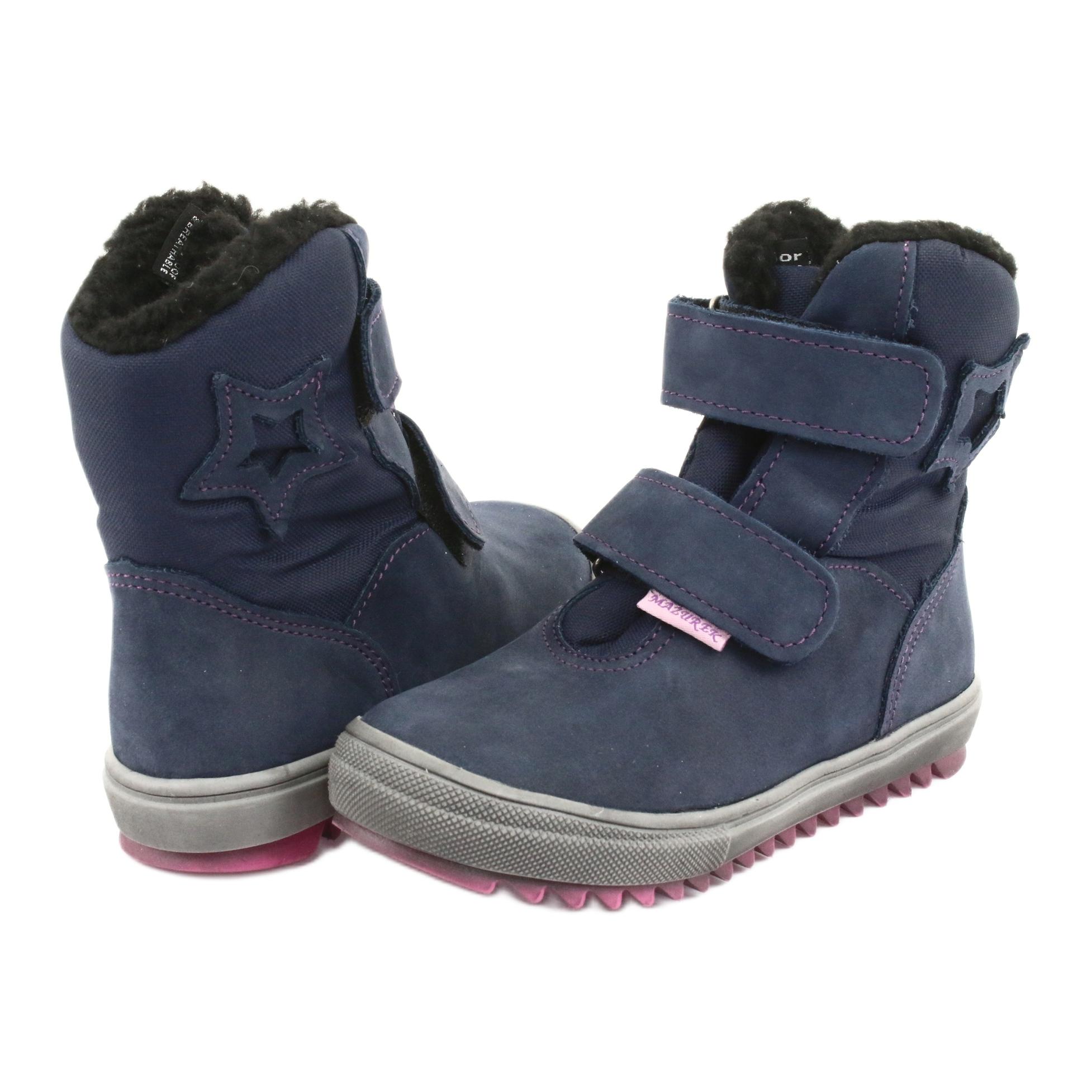 miniatura 4 - Stivali con una membrana Mazurek 1353 blu scuro marina rosa