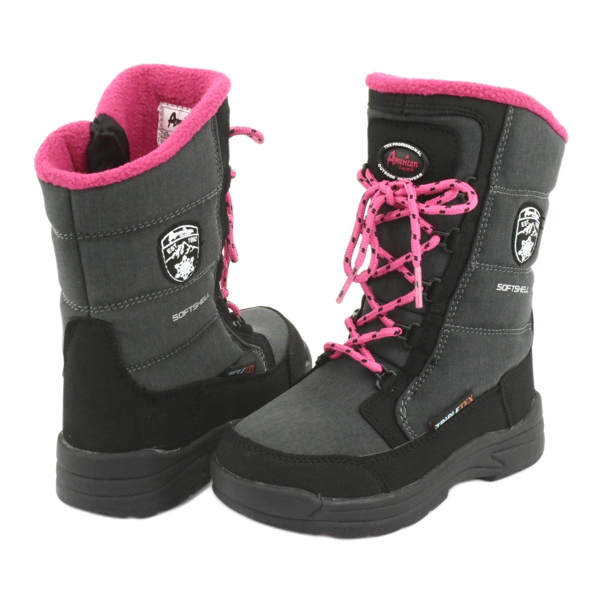 miniatura 5 - Stivali da neve con membrana American club SN13 grigia nero rosa grigio