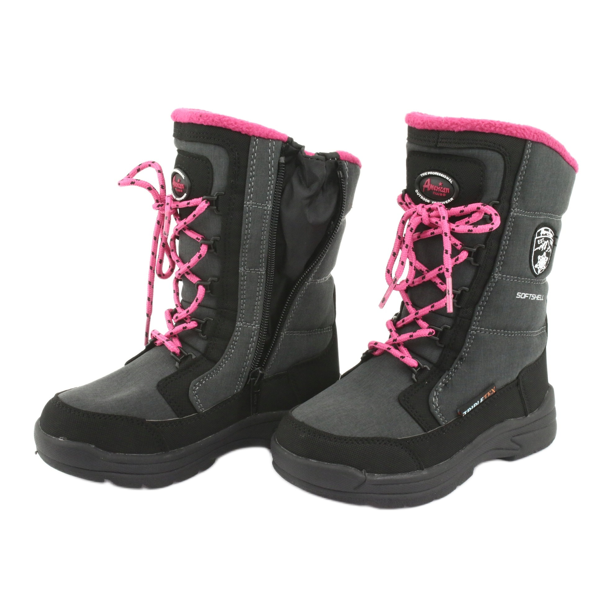 miniatura 6 - Stivali da neve con membrana American club SN13 grigia nero rosa grigio
