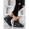 SHELOVET Stivali stringati con glitter nero 5