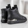 SHELOVET Stivali stringati con glitter nero 2