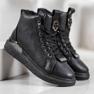 SHELOVET Stivali stringati con glitter nero 3