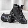 SHELOVET Stivali stringati con glitter nero 4