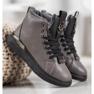 SHELOVET Stivali stringati con glitter grigio 3