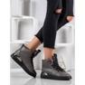 SHELOVET Stivali stringati con glitter grigio 5