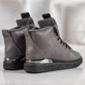 SHELOVET Stivali stringati con glitter grigio 2