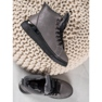 SHELOVET Stivali stringati con glitter grigio 4