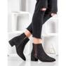 SHELOVET Stivali di camoscio con una cintura decorativa nero 4