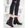 SHELOVET Stivali di camoscio con una cintura decorativa nero 1