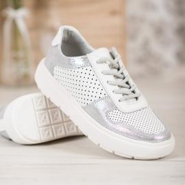 Goodin Stivali di pelle con broccato bianco 3