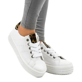 Sneakers leopardate bianche sulla piattaforma M-071 bianco 1